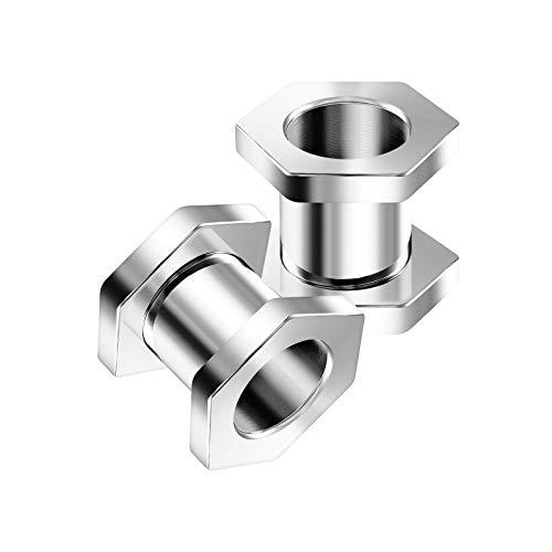 KJM FASHION 2 STK Stahl Schraube 8mm 0 Gauge Fleischtunnel im Hexagon Ohr Flesh Tunnel Ohrringe Plug Stecker Dehner Piercing Schmuck 5371