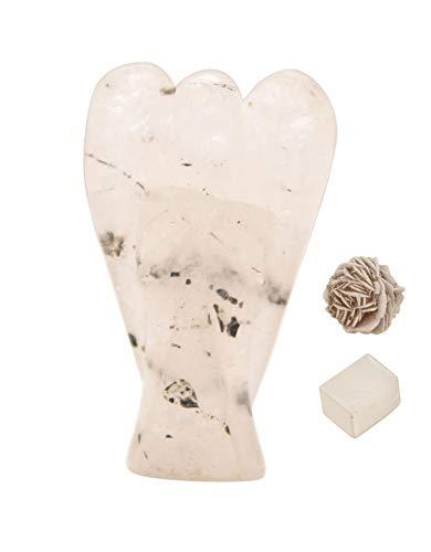 Natural Black Rutile Reiki Carved Spiritual Gemstone Guardian Pocket Angel Healing | Crystal Therapy | Rose Desert Selenite | Cube Selenite' 2 inches Approx - Blessfull Healing
