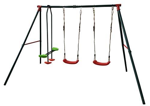 MASGAMES | Columpio metálico YUCA | 2 Asientos Planos de plástico y Cuerdas + balancín de Dos plazas | Anclajes incluidos | Uso doméstico |