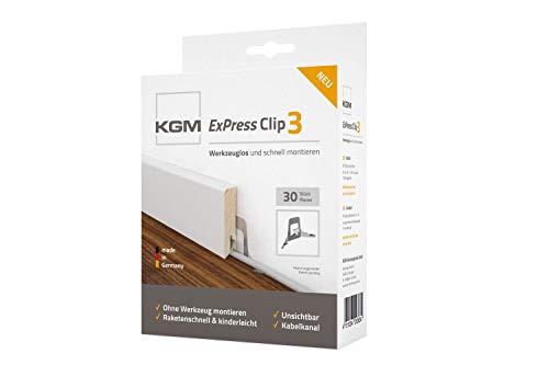 KGM Sockelleisten Clips ExPress3 | Leistenclips für einfache Fußleisten Montage ✓unsichtbare Montage ✓kein Werkzeug benötigt ✓mit Kabelkanal | Inhalt: 30 Befestigungsclips inc Montagehilfe