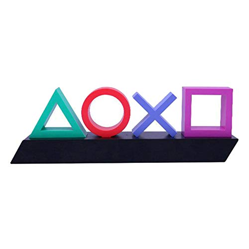 Playstation Lampe, Fenteer LED Icons Symbol Light mit 3 Lichtmodi, Sign Soundsteuerung Game Stimmungslampe, Szenenraum Atmosphäre Neon Schreibtisch deko, Gaming zubehör
