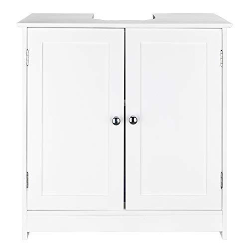 Wnvivi Bathroom Vanity, Pedestal Under Sink Storage Bathroom Cabinet with 2 Doors MDF Board Bathroom Cabinet Wooden Free Standing Storage Cupboard Furniture Organizer Shelf, White