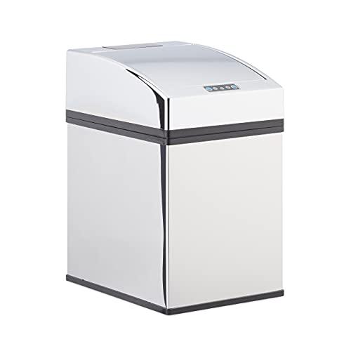 Relaxdays, Silber Sensor Mülleimer Edelstahl, mit Automatikdeckel, Inneneimer, hygienisch, 5 L, HxBxT: 25 x 15 x 20 cm, 5 Liter