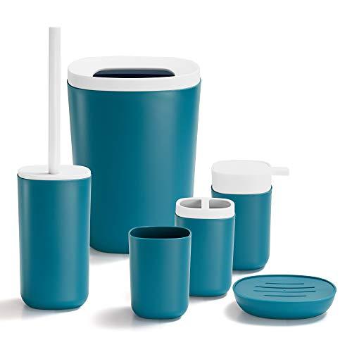 GRICOL Accesorios de baño Conjunto de 6 cepillos de Dientes de plástico Taza jabonera Tazón de Basura y Cepillo de Inodoro con Soporte Verde