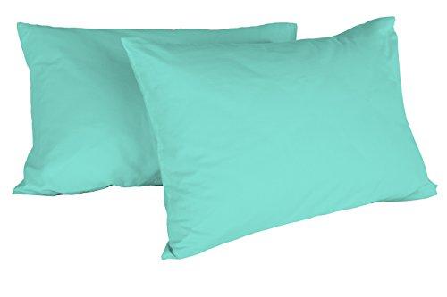 Italian Bed Linen Max Color Coppia di Federe Tinta Unita, 100% Cotone, Verde Acqua, 52 x 82 cm