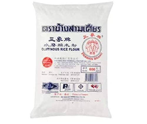 Erawan Brand Harina de Arroz Glutinoso 600g - Se utiliza como espesante de salsa o como agente de unión en productos horneados, sin gluten y tampoco contiene agentes blanqueadores.