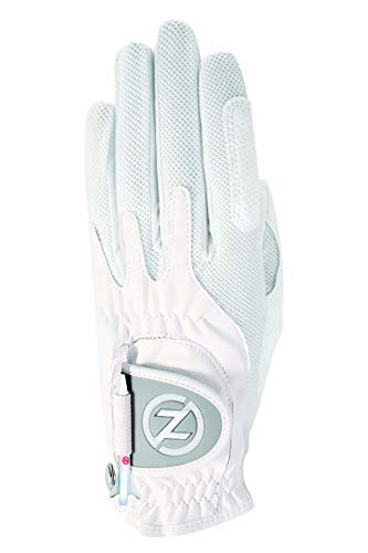 Zero Friction Null Reibung Damen-Compression-fit Synthetik Golf Handschuhe, Universal Fit One Size, Damen, weiß, Einheitsgröße