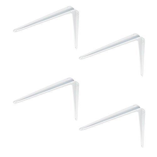 4 Stück - Stahlblech-Konsole 280 mm Regalträger Regalkonsole Metall für Wandregale | Stahl weiß beschichtet | Möbelbeschläge von GedoTec®