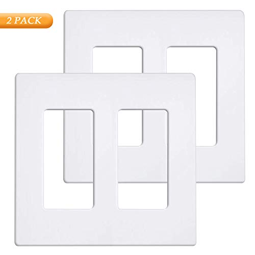 2-Gang Decorator Wall Plate, Standard Size, Screwless Outlet Cover for Light Switch, White, Pack of 2