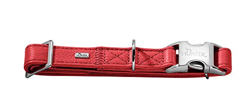 HUNTER CAPRI ALU-STRONG Halsung, Hundehalsband, Aluminium Steckverschluss, Leder, weich, L, rot