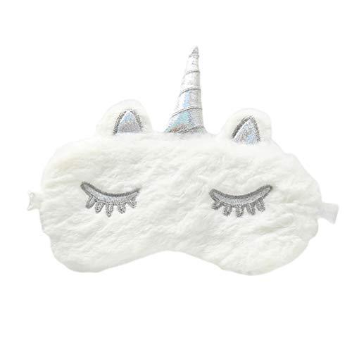 KESYOO máscara de pelúcia macia de chifre de unicórnio para dormir linda capa para olhos de animal arco-íris para viagem, cochilo, noite de venda, para mulheres, meninas e crianças
