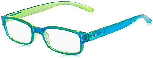 Chaot Lesebrille Reader Kunststoffbrille mit Federscharnier (+1,00, blau-grün)