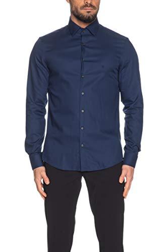 Calvin Klein Camicia a Manica Lunga Uomo Blu Zaffiro