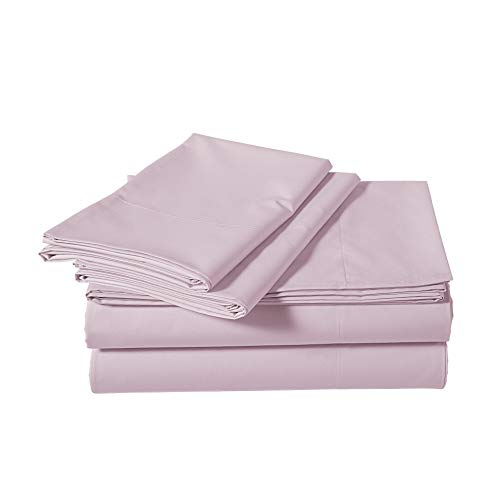 Amazon Basics Super-Soft Sateen 400 Thread Count Cotton Sheet Set - Full, Dusty Lavender