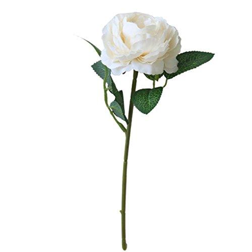 TIREOW Blumenstrauß Romantische Hochzeit Bunte Künstliche Hochzeitsstrauß Rosen Seidenblumen Kunstblumen Blumen Brautstrauß der Braut (Weiß)