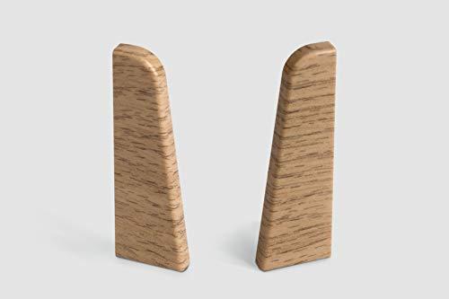 EGGER Endstück Sockelleiste Eiche natur für einfache Montage von 60mm Laminat Fußleisten | Inhalt 2 Stück | Kunststoff robust | Holz Optik braun