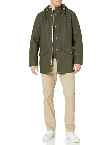 Levi's Men's Rubberized Rain Parka Jacket, olive, Medium