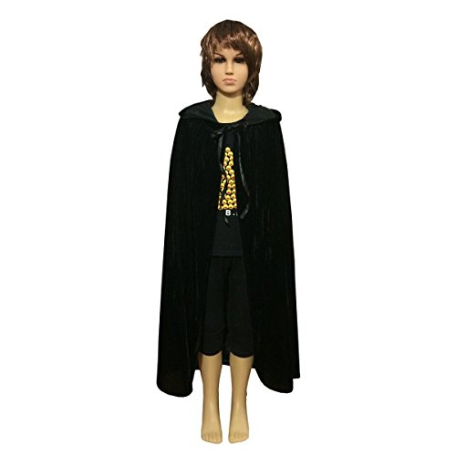 Ecity Unisex Kids Hooded Cloak Cape Party Role Play Costume Christmas Decoration Velvet Hooded Cloak Costumes (Large(100cm /39.37 inches), Black)