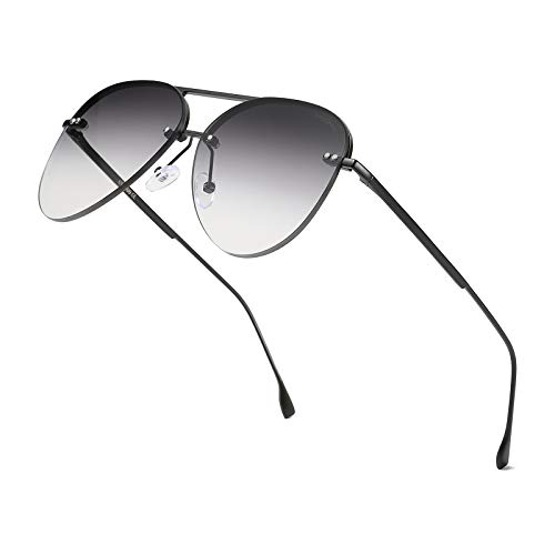 ProudDemon Aviatore Occhiali da Sole da Uomo UV400 Protezione Occhiali da Vista per uomini e donne Montatura nero opaco lente grigio sfumato