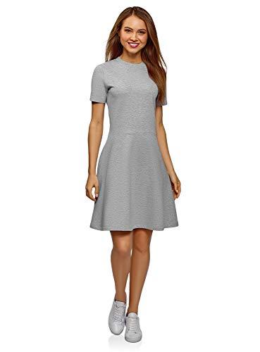 oodji Ultra Damen Tailliertes Kleid mit Reißverschluss, Grau, DE 42 / EU 44 / XL
