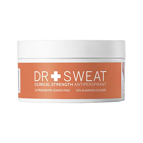 Dr. Sweat Antiperspirant Deodorant Pads for Excessive Sweating Clinical Strength Reduce Sweating for 7 Days, Deodorant for Men & Women 10 Underarm Sweat Pads
