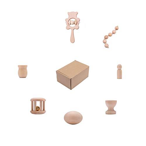 Promise Babe Sonajero de madera mordedor para bebés 8 piezas juego de juguetes para bebés de 0 3 6 9 meses Shaker agarrando sonajero juguetes educativos para niños niñas regalos para bebés