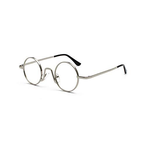 YMTP Occhiali da Vista da Donna Piccoli Occhiali da Vista da Uomo Vintage retrò in Metallo con Montatura Tonda, Argento