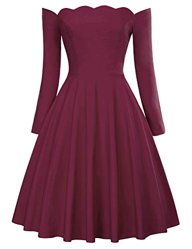 PAUL JONES Audrey Hepburn Little Burgundy Dress Off Shoulder Midi Dress Size L Burgundy