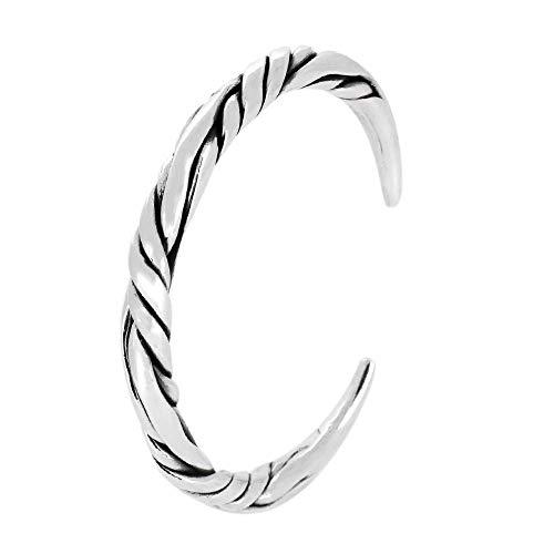 TreasureBay 925 Sterling Silver Heavy Twist Torque Bangle Adjustable Bangle for Men and Women