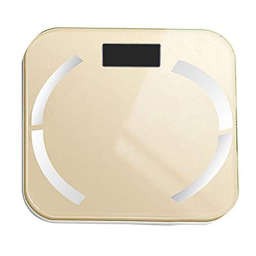 Waage LKU Smart Badezimmer Bluetooth Kalorien BMI Wasserqualität Checker Home Fitness Hintergrundbeleuchtung 180kg Waage, Golden