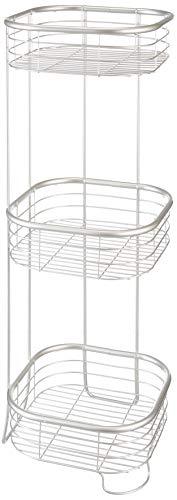 "iDesign Forma Metal Wire Corner Standing Shower Caddy, Bath Shelf Baskets for Shampoo, Conditioner, Soap, 9.5"" x 9.5"" x 26.25"", Satin Silver"