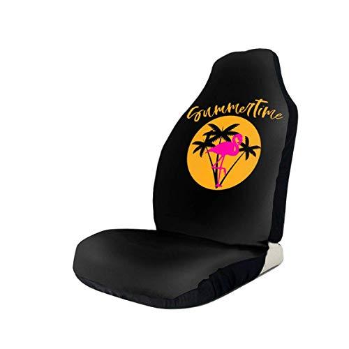 Fundas para asientos de ventiladores deportivos Summertime Flamingo con palmeras y Sunset Tee Fundas para asientos delanteros de coche para mujeres, que se adaptan a la mayoría de vehículos, coches