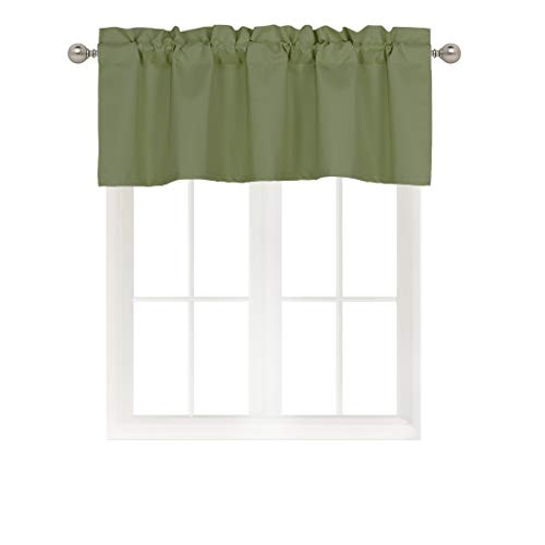 Home Queen Rod Pocket Blackout Curtain Valance Window Treatment for Living Room, Short Straight Drape Valance, Set of 1, 54 X 18 Inch, Olive Green