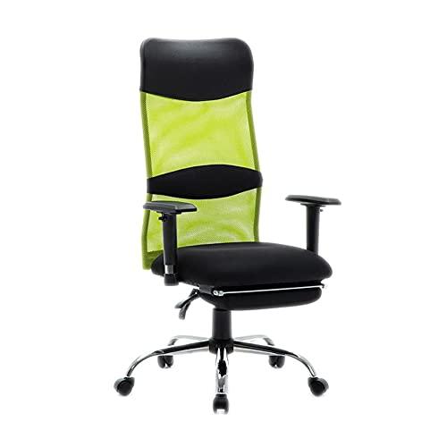 Silla de escritorio para computadora Silla de oficina de malla, silla giratoria ergonómica con altura ajustable, reposacabezas y reposapiés, silla de computadora giratoria de malla Deslizamiento silen