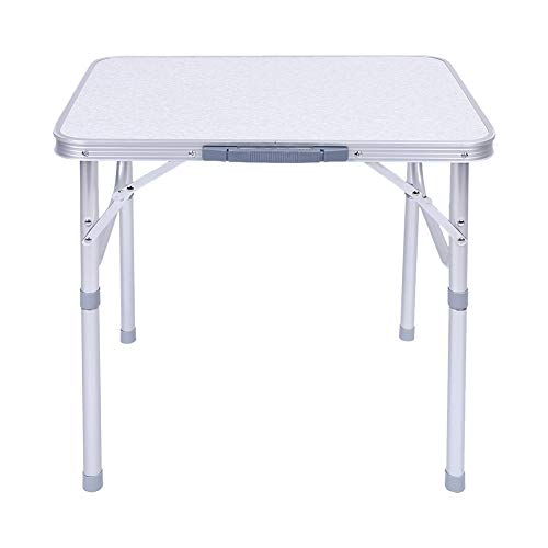 Portable Aluminum Folding Table Party Garden BBQ Camping Table Adjustable Height Lightweight Outdoor Drinks Patio Square Folding Table Desk Stand for Home Kitchen Garden Picnic Dinning Camping Snack