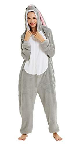 Silver Basic Hombres y Mujeres Unisex Suaves y Acogedores Pijamas de una Pieza Adulto Fleece Animal Ropa de Dormir Cremallera S,Conejo-6