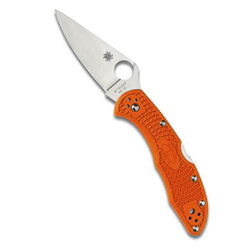 """Spyderco Delica 4 Lightweight Signature Folding Knife with 2.90"""" Flat-Ground Steel Blade and High-Strength Orange FRN Handle - PlainEdge - C11FPOR"""