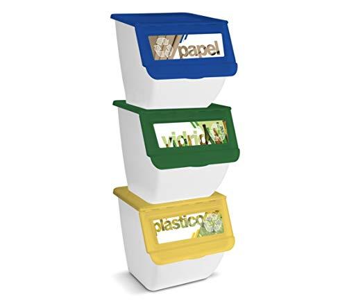 TIENDA EURASIA® Cubos de Basura de Reciclaje - Pack de 3 Contenedores de 36L Apilables (Papel - Vidrio - Plástico) - Ideal para Reciclar en Casa