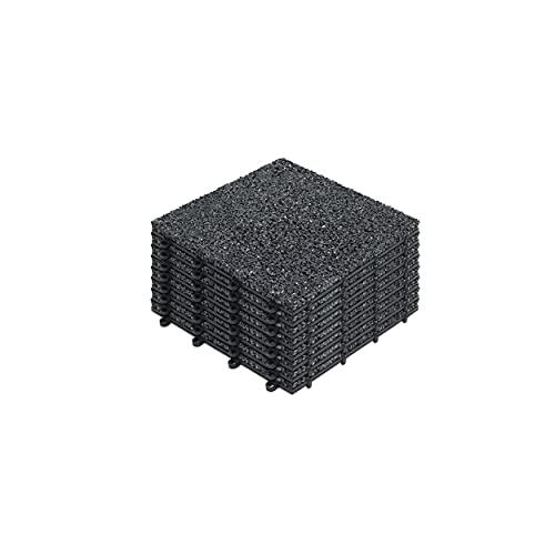 Oviala Dalle de terrasse clipsable Noir Carré 30 x 30 x 2,5 cm Gravier Memento
