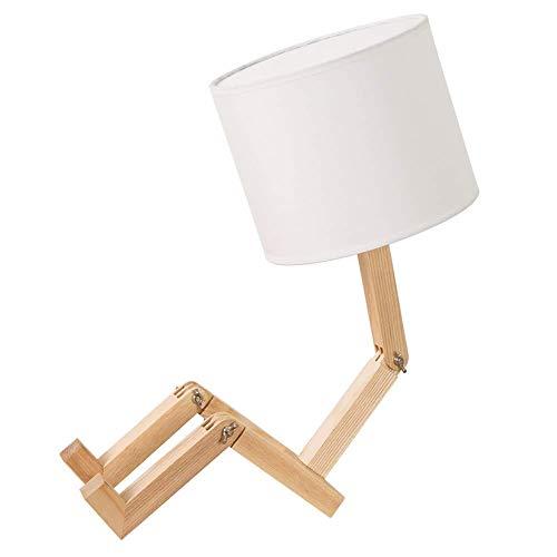 Lámpara de noche Lámpara de trabajo Lámpara de noche con robot, pantalla de tela que combina con cuerpo de madera maciza plegable, lámpara de mesa creativa para dormitorio, sala de estar para estudio,