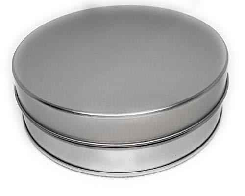 Perfekto24 Lata de metal para pan de jengibre 'Classic Silver' – Lata de metal de 12,1 x 3,7 cm, redonda, vacía, plateada, lata de almacenamiento universal