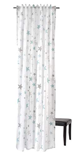 Homing bedruckter blickdichter Vorhang weiß türkis (1Stück) 245 x 140 cm (HxB), 100 Prozent CO, Blau, 140x245cm