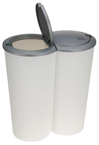Spetebo Mülleimer 50 Liter (2x25) in weiß mit praktischem Klappverschluss