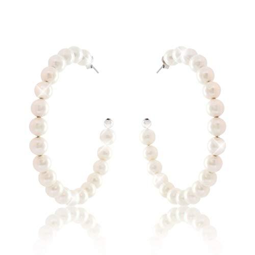 PAVEL´S weiße Damen Perlen Creole PERLENTRAUM Perlmutt creme groß 55mm aus Silber 925 Hochzeit Perlenohrringe, inkl. hochwertigem Leder Etui