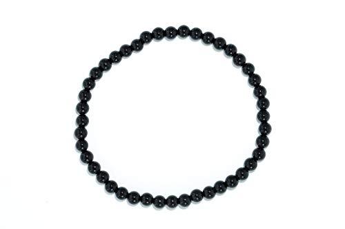 Taddart Minerals – Schwarzes Armband aus dem natürlichen Edelstein Turmalin Schörl mit 4 mm Kugeln auf elastischem Nylonfaden aufgezogen - handgefertigt