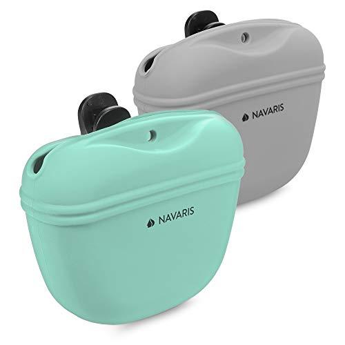 Navaris Hunde Futterbeutel aus Silikon 2er Set - 2X Snackbeutel mit Clip und Magnet - Futtertasche Leckerlis Trockenfutter Nassfutter