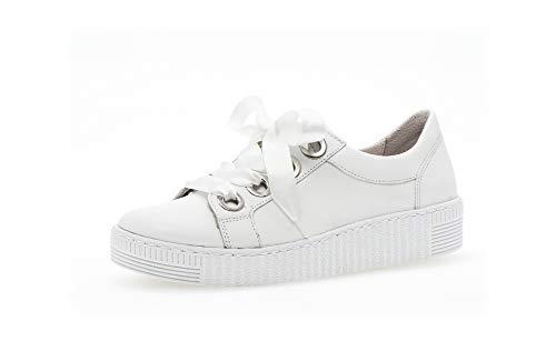 Gabor Damen Sneaker, Frauen Low-Top Sneaker,Best Fitting,Übergrößen,Optifit- Wechselfußbett, Ladies feminin elegant,Weiss (Uni),38.5 EU / 5.5 UK