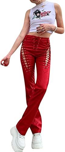 Pantalones de Cuero PU para Mujer a Medida con cordón Tensor, Pantalones Acampanados de Baja Altura Y2k Pantalones de Ajuste Delgado, Sexy Hueco gótico Punk Y2K PU Pantalones (Red,S)