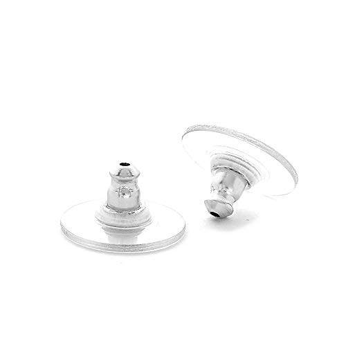 pewterhooter 5 Pairs. Replace Your Earring Scrolls or Metal Bullet Backs with These Silver Tone Comfortable and Secure Plastic Earring Backs.
