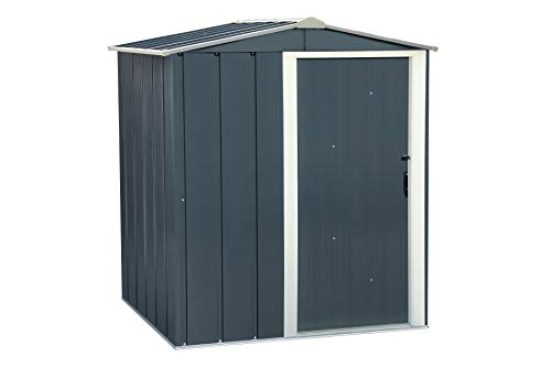 Duramax ECO 5 x 4 Hot-Dipped Galvanized Metal Garden Tool Storage Shed-Anthracite with Off-White Trimmings